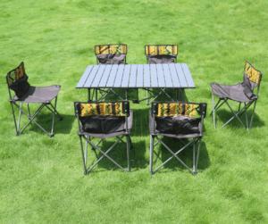bàn ghế kim loại dã ngoại 6 ghế 1 bàn cao cấp dạng gấp du lịch
